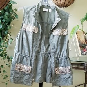 Chico's vest olive green bling, drawstring pockets